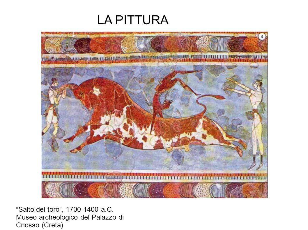 """LA PITTURA """"Salto del toro"""", 1700-1400 a.C. Museo archeologico del Palazzo di Cnosso (Creta)"""