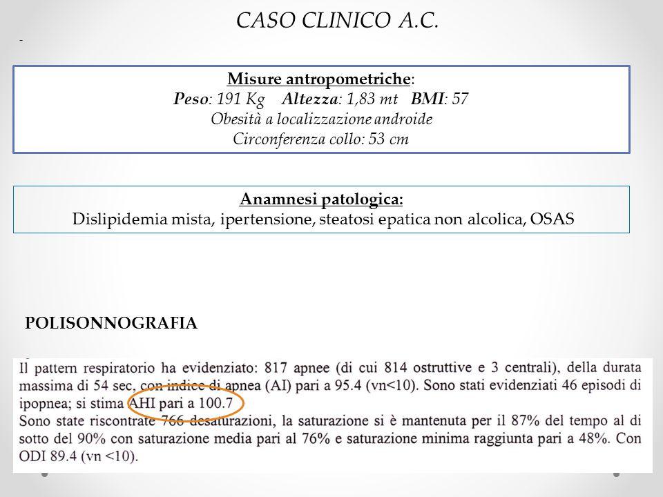 Misure antropometriche: Peso: 191 Kg Altezza: 1,83 mt BMI: 57 Obesità a localizzazione androide Circonferenza collo: 53 cm Anamnesi patologica: Dislip