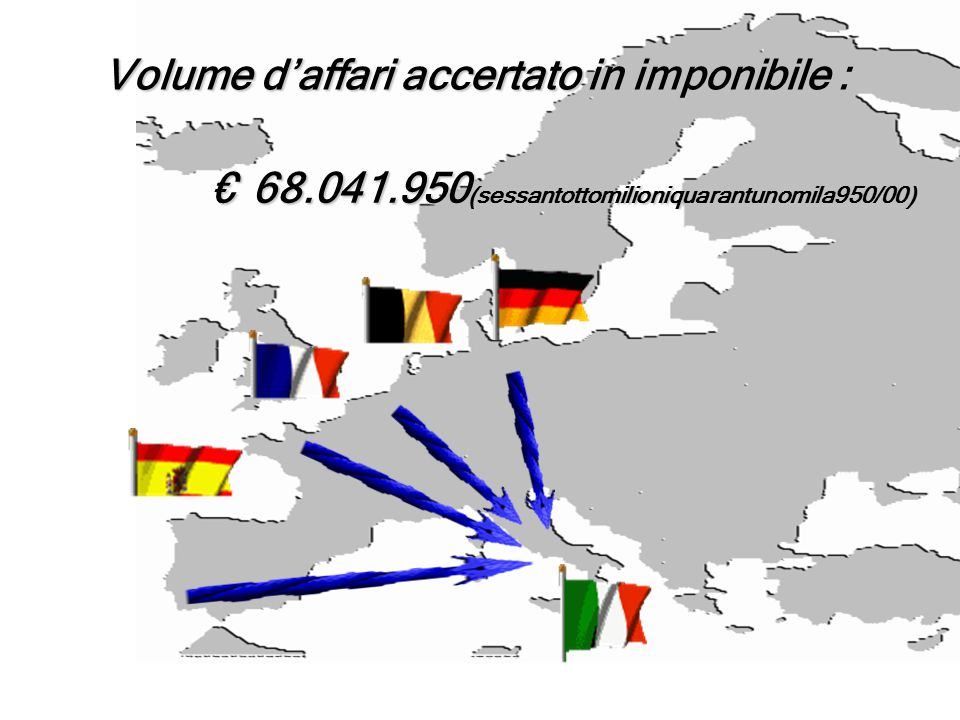 Volume d'affari accertato in imponibile : €68.041.950(sessantottomilioniquarantunomila950/00)