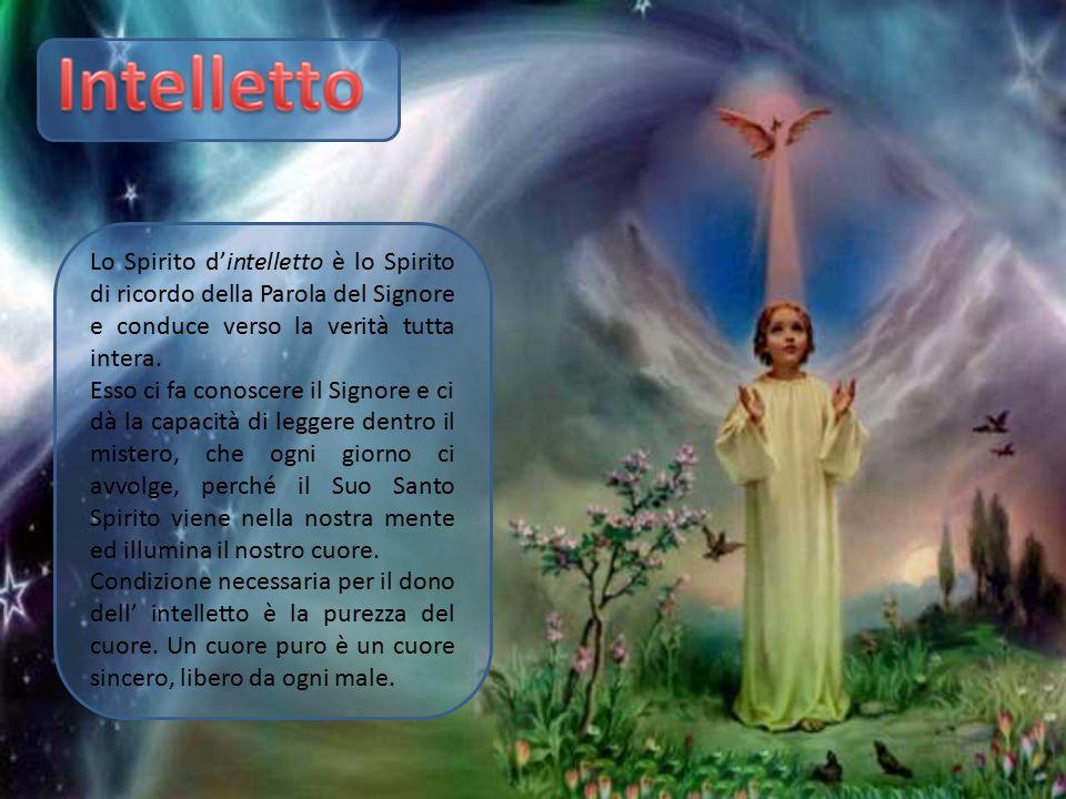 Lo Spirito d'intelletto è lo Spirito di ricordo della Parola del Signore e conduce verso la verità tutta intera. Esso ci fa conoscere il Signore e ci