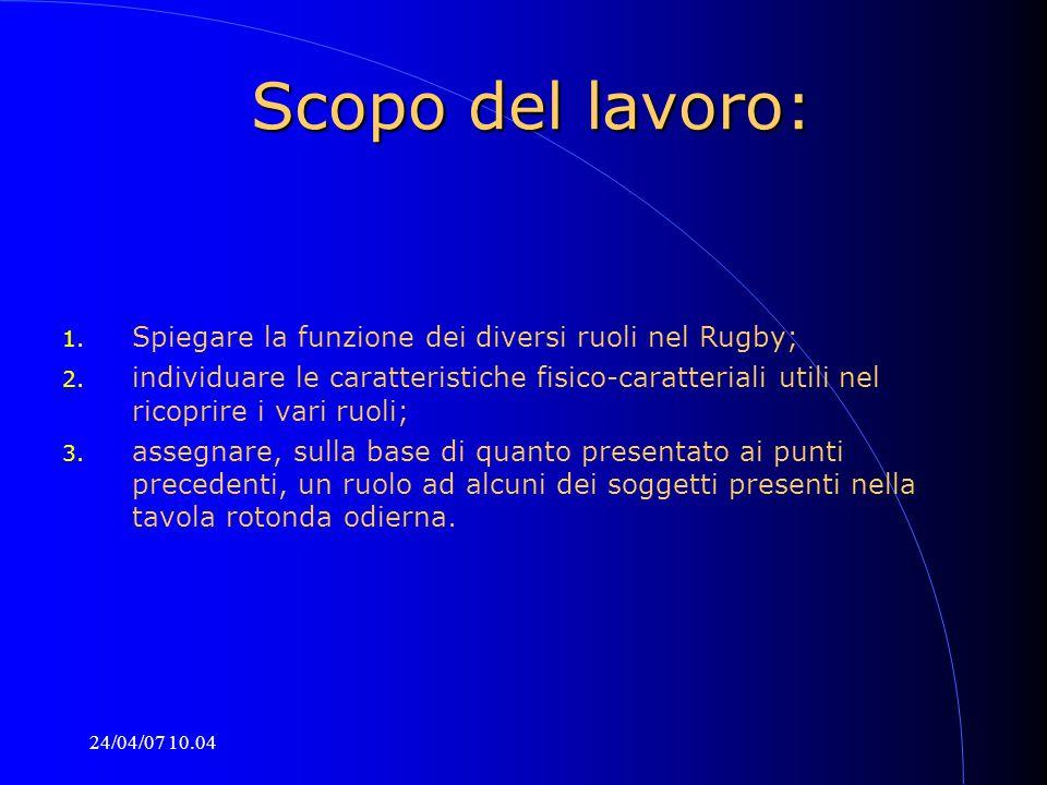 24/04/07 10.04 Scopo del lavoro: 1. Spiegare la funzione dei diversi ruoli nel Rugby; 2. individuare le caratteristiche fisico-caratteriali utili nel
