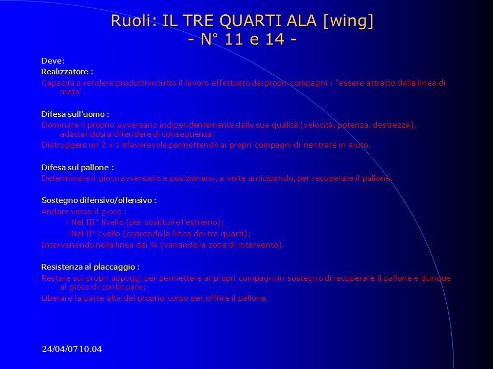 24/04/07 10.04 Ruoli: IL TRE QUARTI ALA [wing] - N° 11 e 14 - Deve: Realizzatore : Capacità a rendere produttivo tutto il lavoro effettuato dai propri