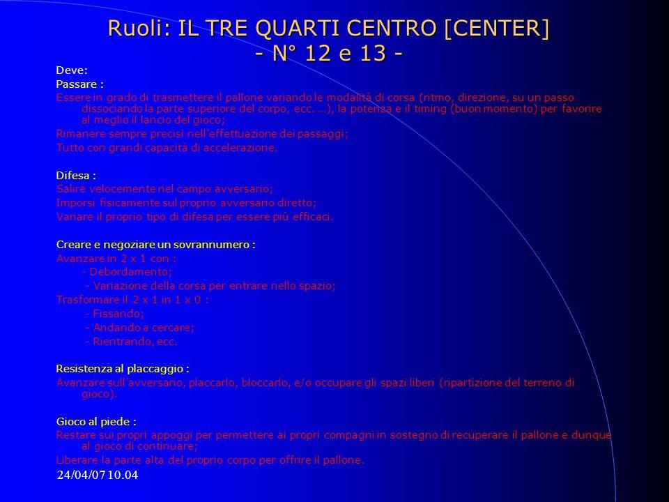 24/04/07 10.04 Ruoli: IL TRE QUARTI CENTRO [CENTER] - N° 12 e 13 - Deve: Passare : Essere in grado di trasmettere il pallone variando le modalità di c