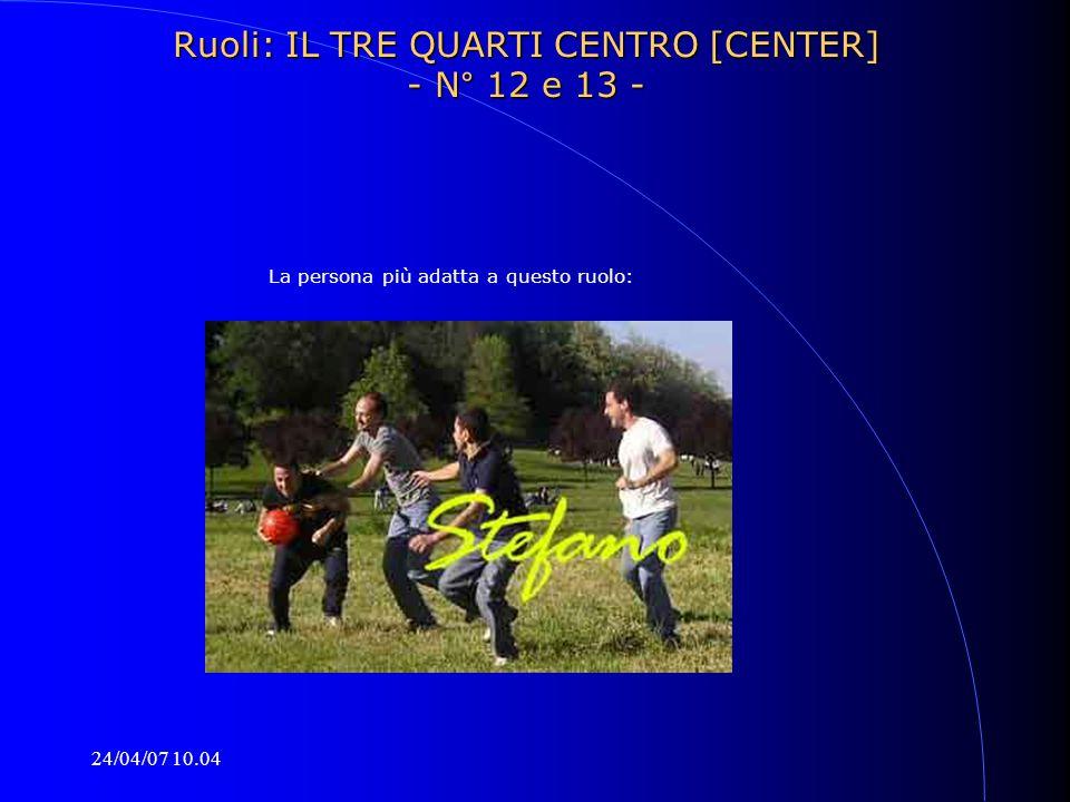 24/04/07 10.04 La persona più adatta a questo ruolo: Ruoli: IL TRE QUARTI CENTRO [CENTER] - N° 12 e 13 -
