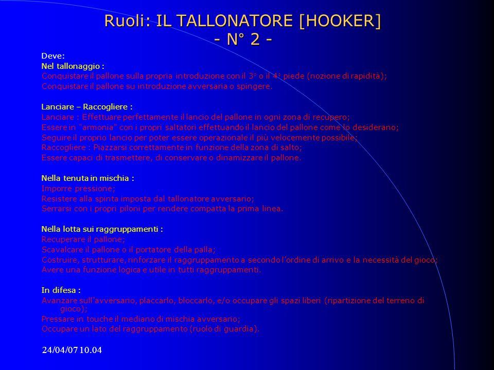 24/04/07 10.04 Ruoli: IL TALLONATORE [HOOKER] - N° 2 - Deve: Nel tallonaggio : Conquistare il pallone sulla propria introduzione con il 3° o il 4° pie