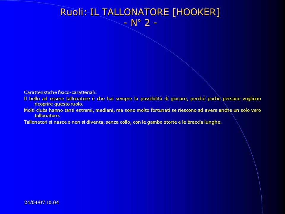 24/04/07 10.04 Ruoli: IL TALLONATORE [HOOKER] - N° 2 - Caratteristiche fisico-caratteriali: Il bello ad essere tallonatore è che hai sempre la possibi
