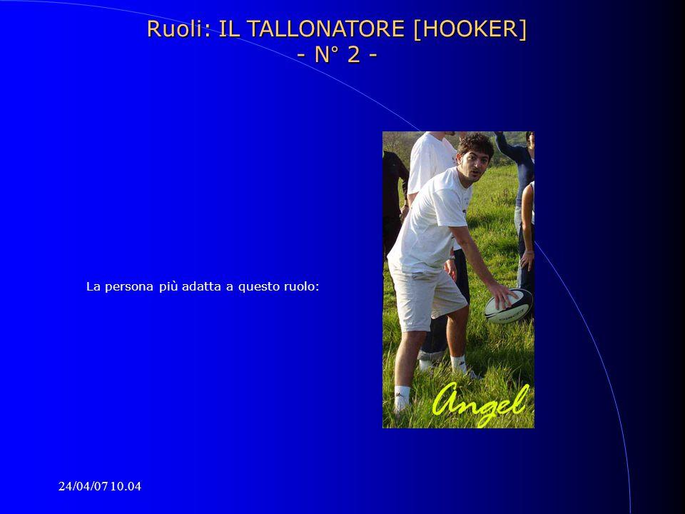 24/04/07 10.04 La persona più adatta a questo ruolo: Ruoli: IL TALLONATORE [HOOKER] - N° 2 -