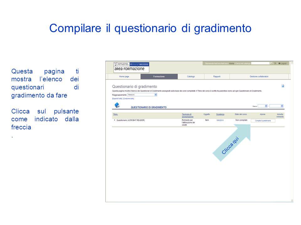 Compilare il questionario di gradimento Il giorno dopo la fine del corso seguito troverai nella tua home page un avviso. Clicca sulla scritta in rosso
