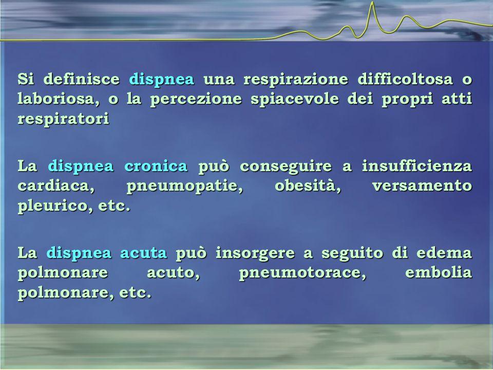 Si definisce dispnea una respirazione difficoltosa o laboriosa, o la percezione spiacevole dei propri atti respiratori La dispnea cronica può consegui
