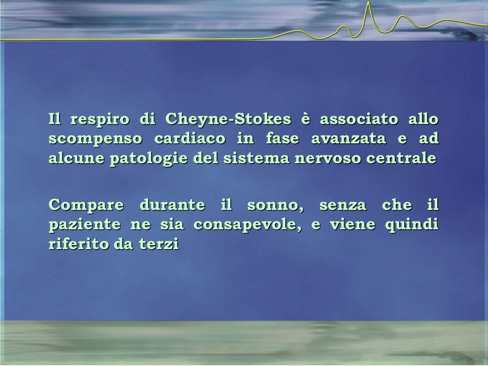 Il respiro di Cheyne-Stokes è associato allo scompenso cardiaco in fase avanzata e ad alcune patologie del sistema nervoso centrale Compare durante il