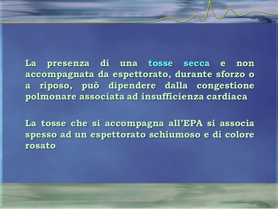La presenza di una tosse secca e non accompagnata da espettorato, durante sforzo o a riposo, può dipendere dalla congestione polmonare associata ad in
