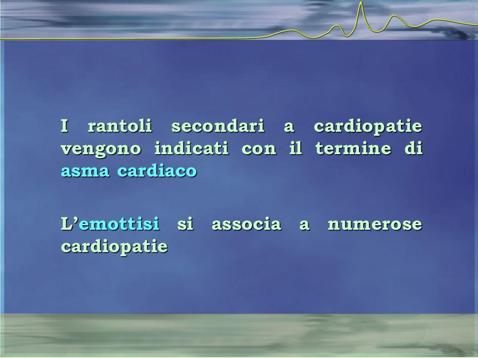 I rantoli secondari a cardiopatie vengono indicati con il termine di asma cardiaco L'emottisi si associa a numerose cardiopatie