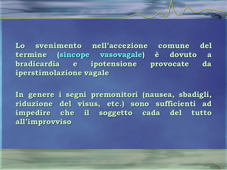 Lo svenimento nell'accezione comune del termine (sincope vasovagale) è dovuto a bradicardia e ipotensione provocate da iperstimolazione vagale In gene