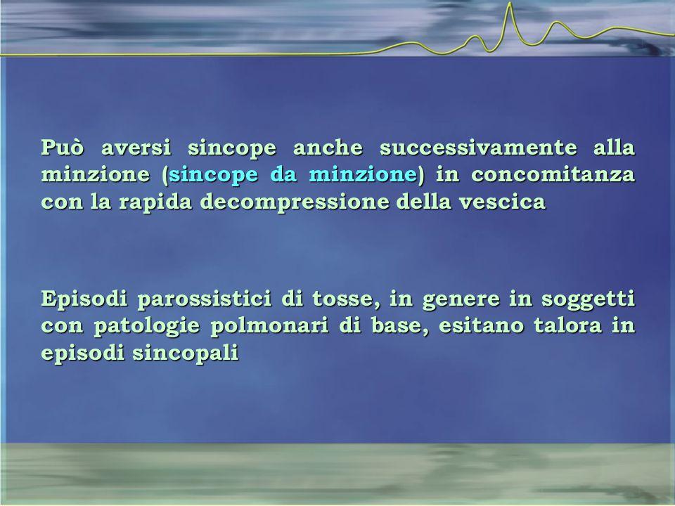 Può aversi sincope anche successivamente alla minzione (sincope da minzione) in concomitanza con la rapida decompressione della vescica Episodi paross