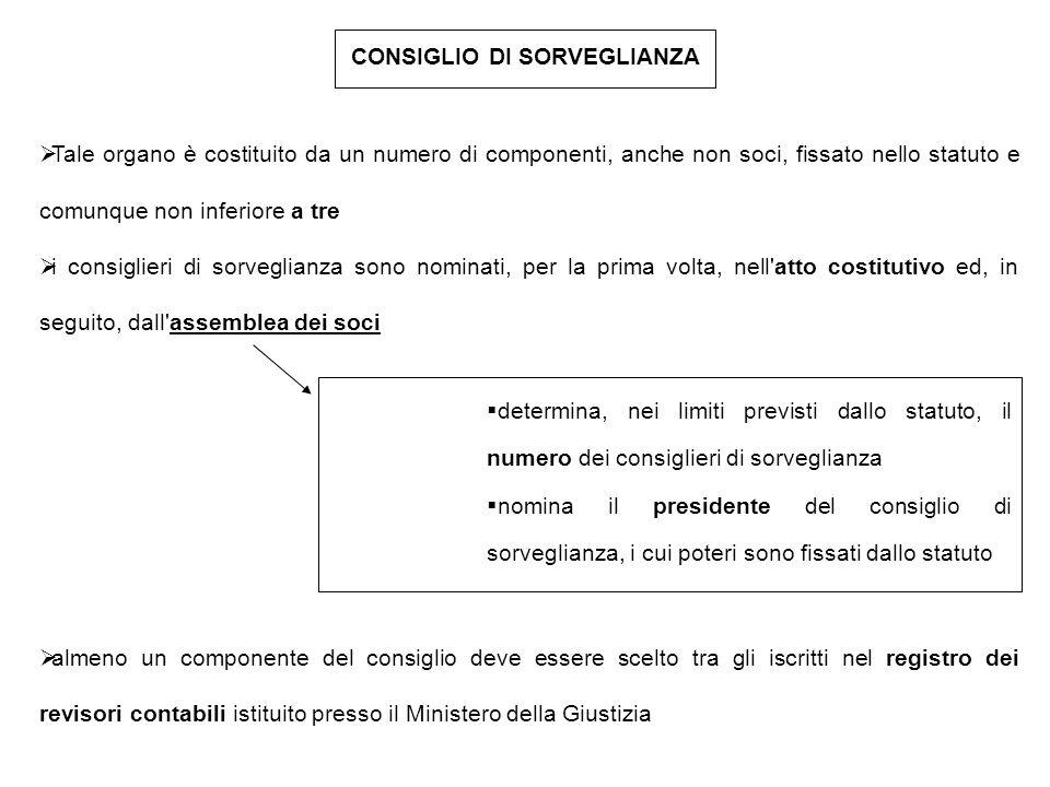 CONSIGLIO DI SORVEGLIANZA  Tale organo è costituito da un numero di componenti, anche non soci, fissato nello statuto e comunque non inferiore a tre