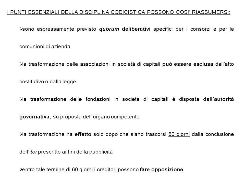 I PUNTI ESSENZIALI DELLA DISCIPLINA CODICISTICA POSSONO COSI' RIASSUMERSI:  sono espressamente previsto quorum deliberativi specifici per i consorzi