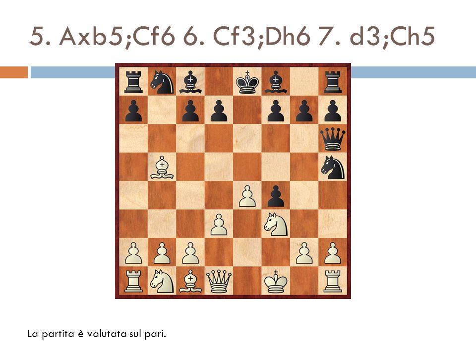 8.Ch4;Dg5 9. Cf5;c6 10. Tg1?;cxb5?. Meglio è 10. Aa4; g6 11.