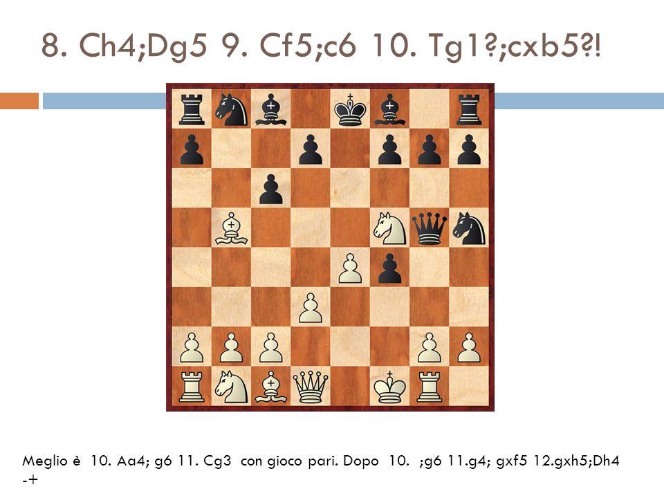 8. Ch4;Dg5 9. Cf5;c6 10. Tg1?;cxb5?! Meglio è 10. Aa4; g6 11. Cg3 con gioco pari. Dopo 10. ;g6 11.g4; gxf5 12.gxh5;Dh4 -+