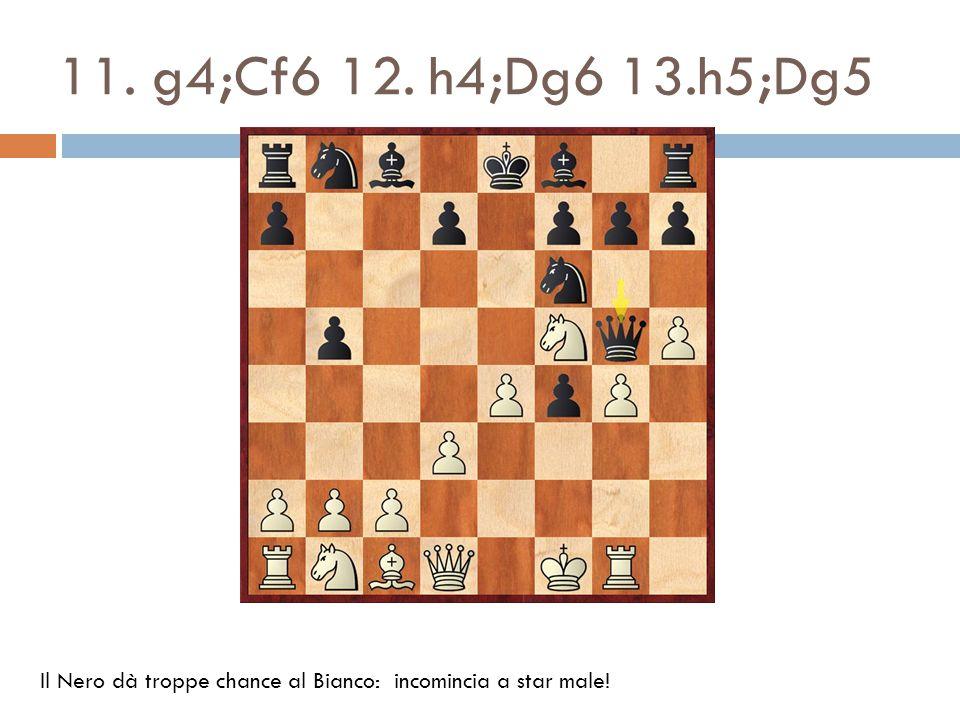 11. g4;Cf6 12. h4;Dg6 13.h5;Dg5 Il Nero dà troppe chance al Bianco: incomincia a star male!