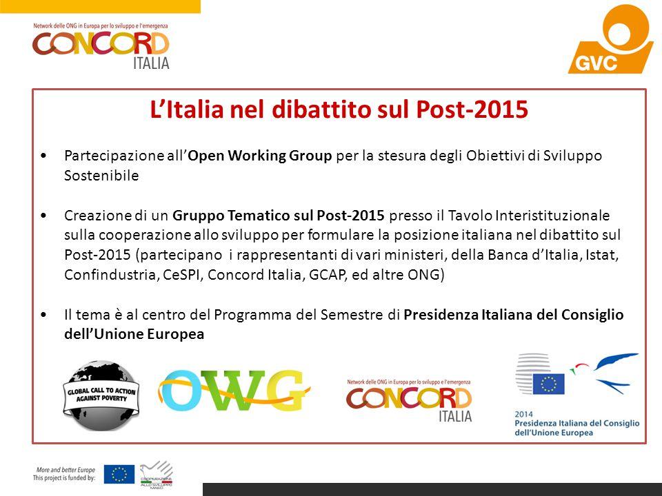 L'Italia nel dibattito sul Post-2015 Partecipazione all'Open Working Group per la stesura degli Obiettivi di Sviluppo Sostenibile Creazione di un Grup