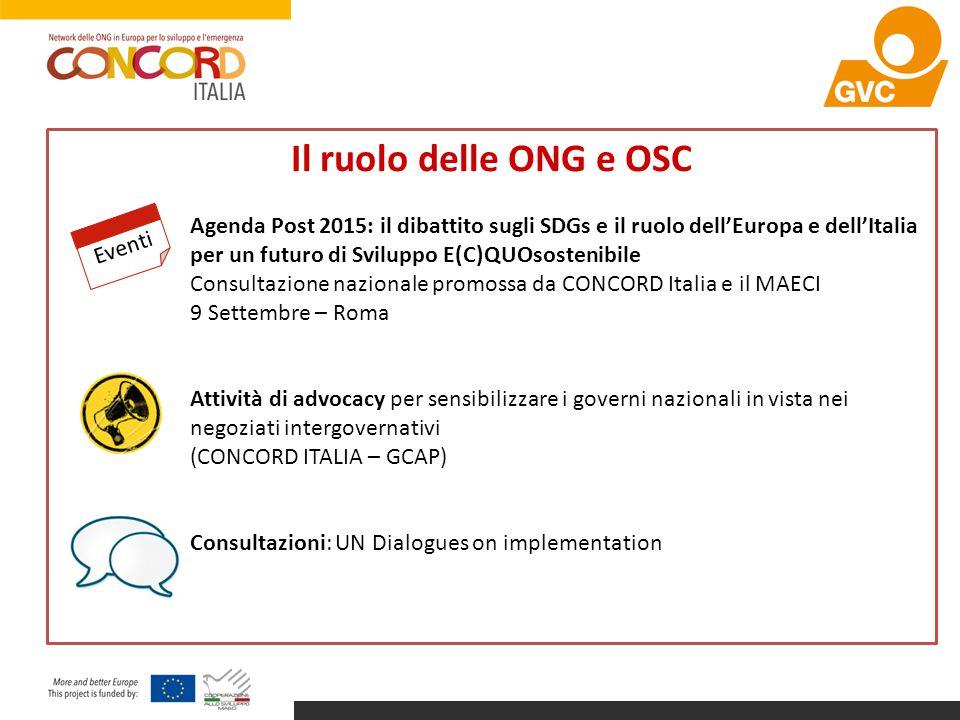 Il ruolo delle ONG e OSC Agenda Post 2015: il dibattito sugli SDGs e il ruolo dell'Europa e dell'Italia per un futuro di Sviluppo E(C)QUOsostenibile C