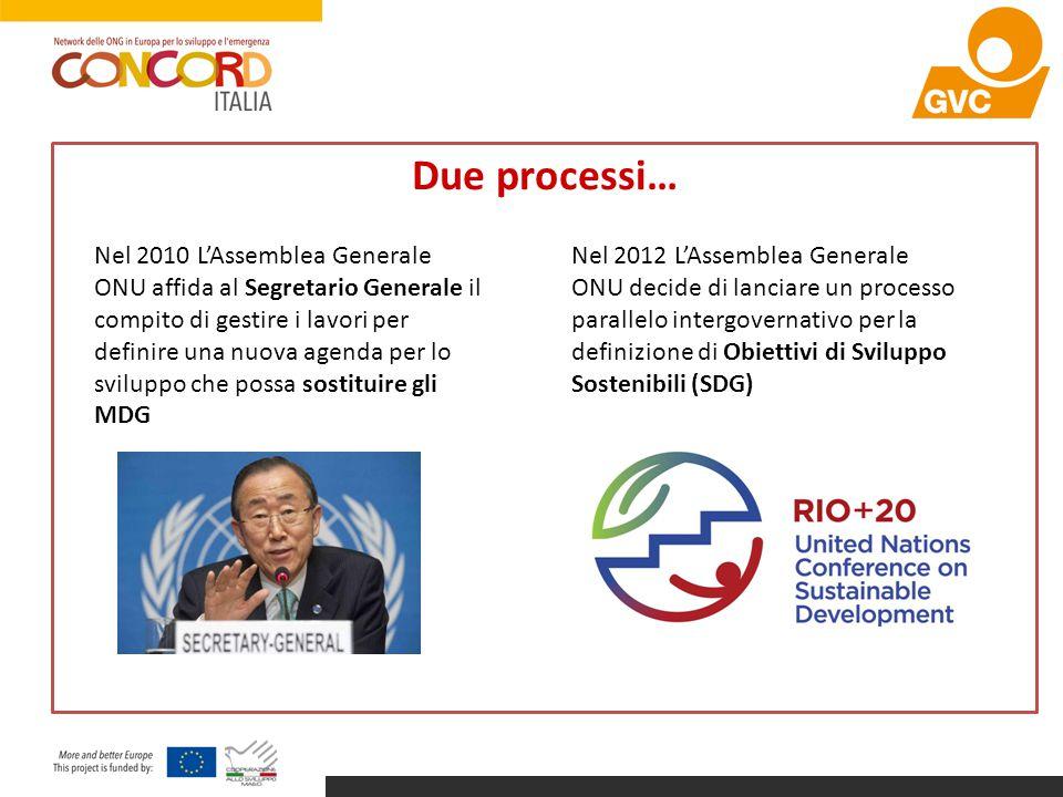 Due processi… Nel 2010 L'Assemblea Generale ONU affida al Segretario Generale il compito di gestire i lavori per definire una nuova agenda per lo svil