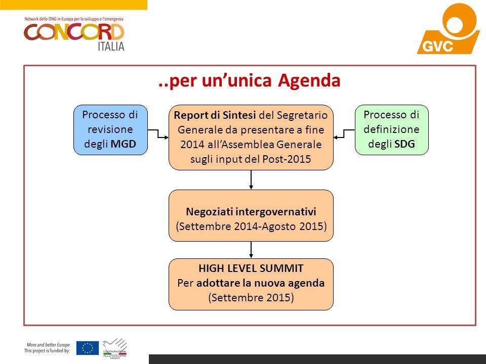 ..per un'unica Agenda Report di Sintesi del Segretario Generale da presentare a fine 2014 all'Assemblea Generale sugli input del Post-2015 Negoziati i
