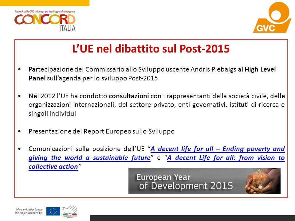 L'UE nel dibattito sul Post-2015 Partecipazione del Commissario allo Sviluppo uscente Andris Piebalgs al High Level Panel sull'agenda per lo sviluppo