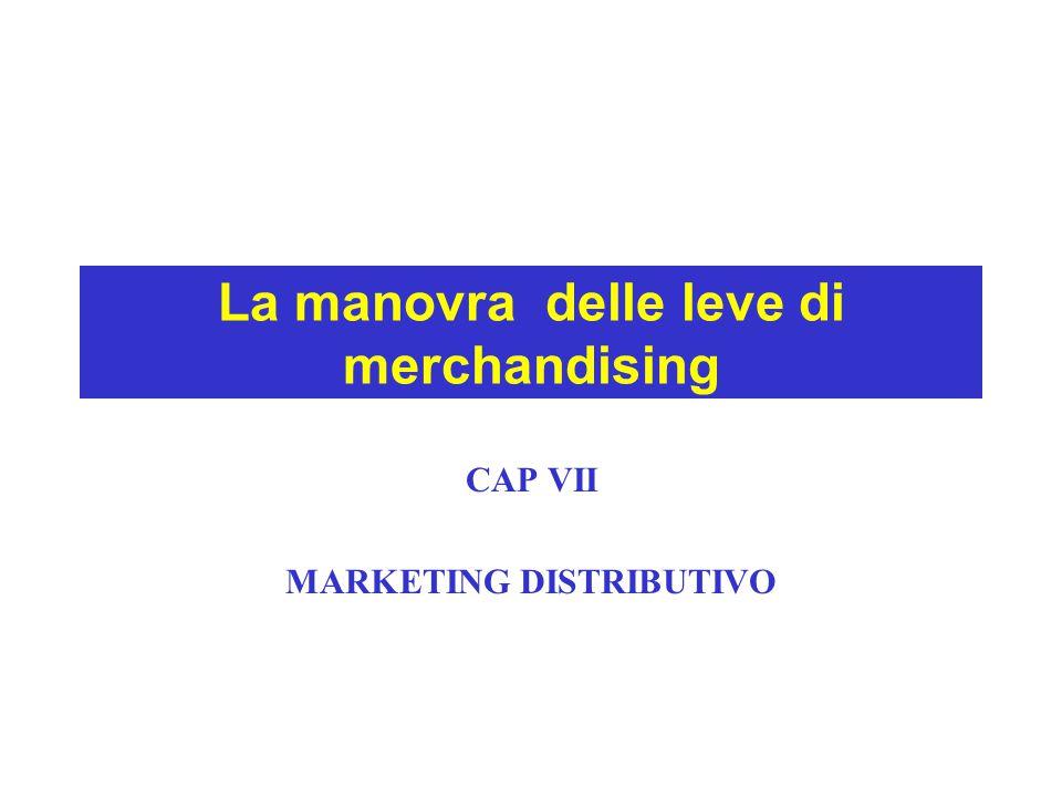 La manovra delle leve di merchandising CAP VII MARKETING DISTRIBUTIVO