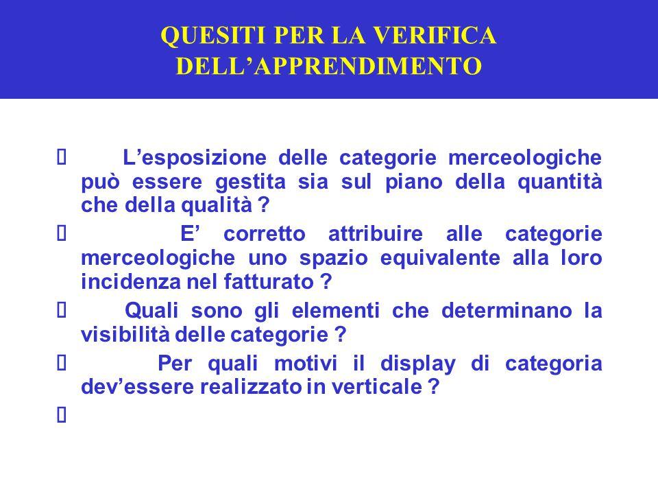 QUESITI PER LA VERIFICA DELL'APPRENDIMENTO  L'esposizione delle categorie merceologiche può essere gestita sia sul piano della quantità che della qualità .