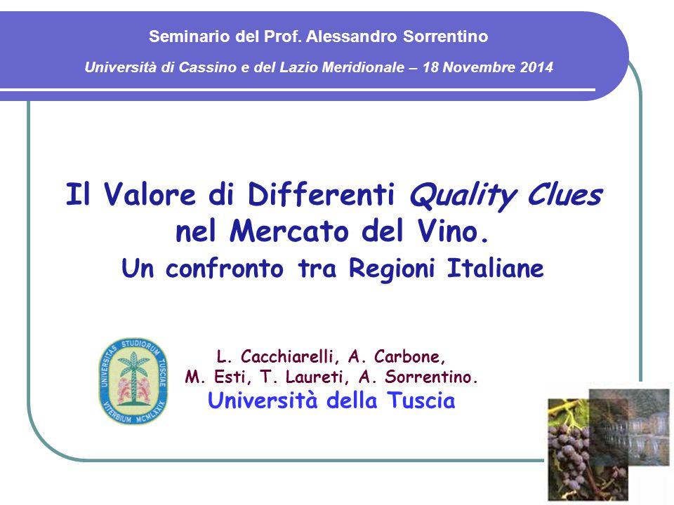 Il Valore di Differenti Quality Clues nel Mercato del Vino. Un confronto tra Regioni Italiane Seminario del Prof. Alessandro Sorrentino Università di