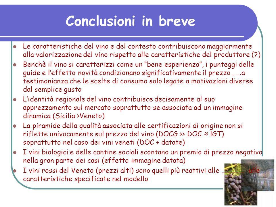 Conclusioni in breve Le caratteristiche del vino e del contesto contribuiscono maggiormente alla valorizzazione del vino rispetto alle caratteristiche