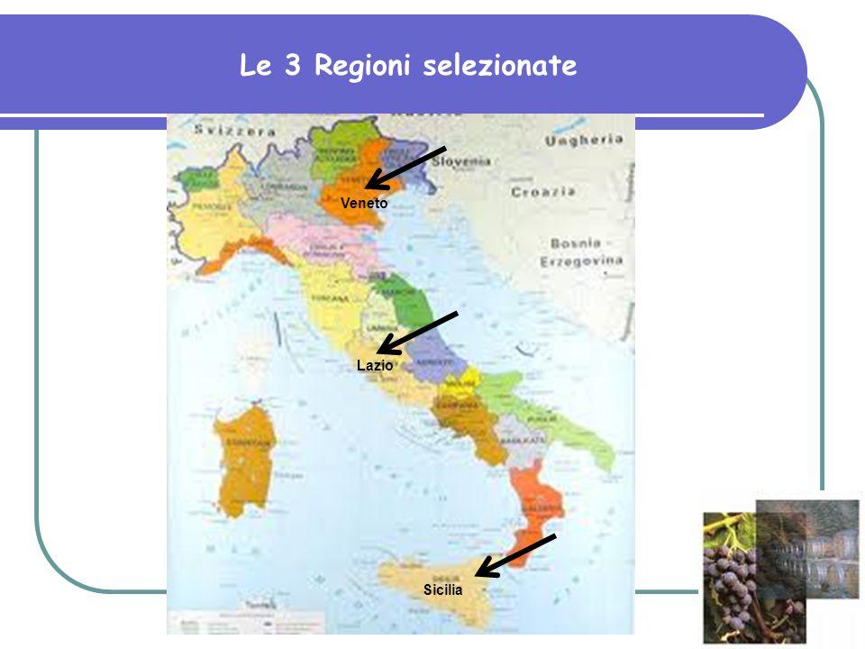 Le 3 Regioni selezionate Veneto Sicilia Lazio