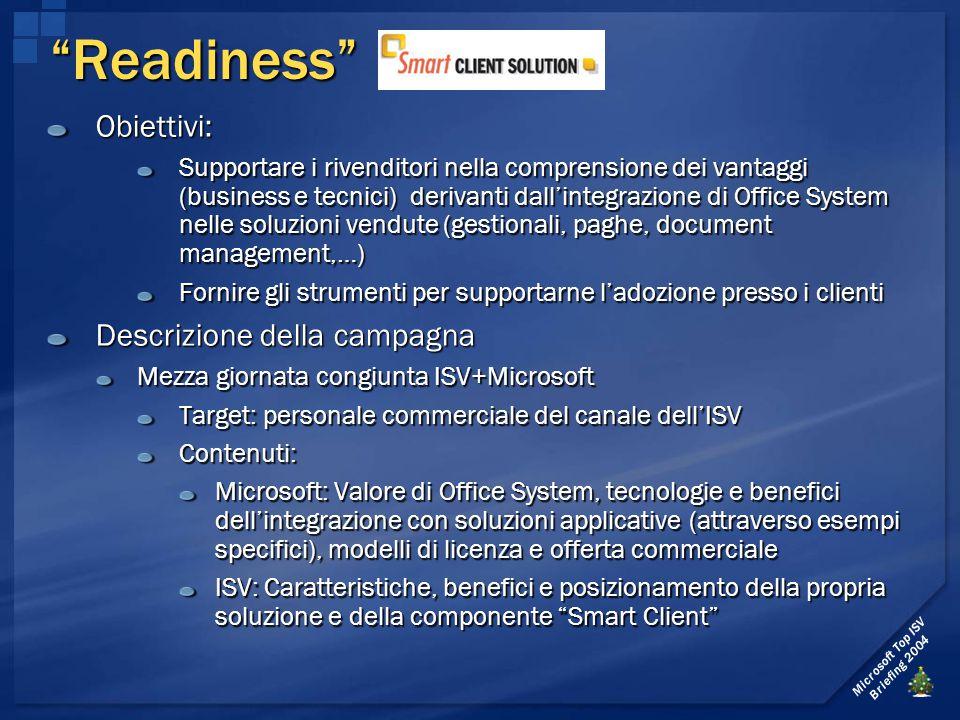 """Microsoft Top ISV Briefing 2004 """"Readiness"""" Obiettivi: Supportare i rivenditori nella comprensione dei vantaggi (business e tecnici) derivanti dall'in"""