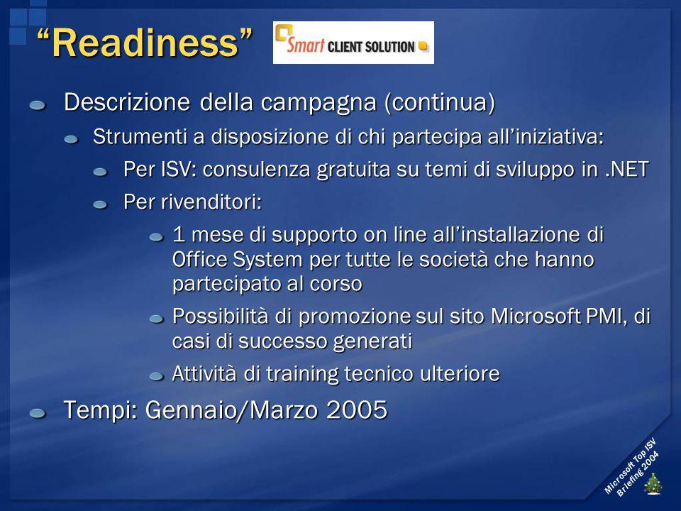 Microsoft Top ISV Briefing 2004 Descrizione della campagna (continua) Strumenti a disposizione di chi partecipa all'iniziativa: Per ISV: consulenza gr