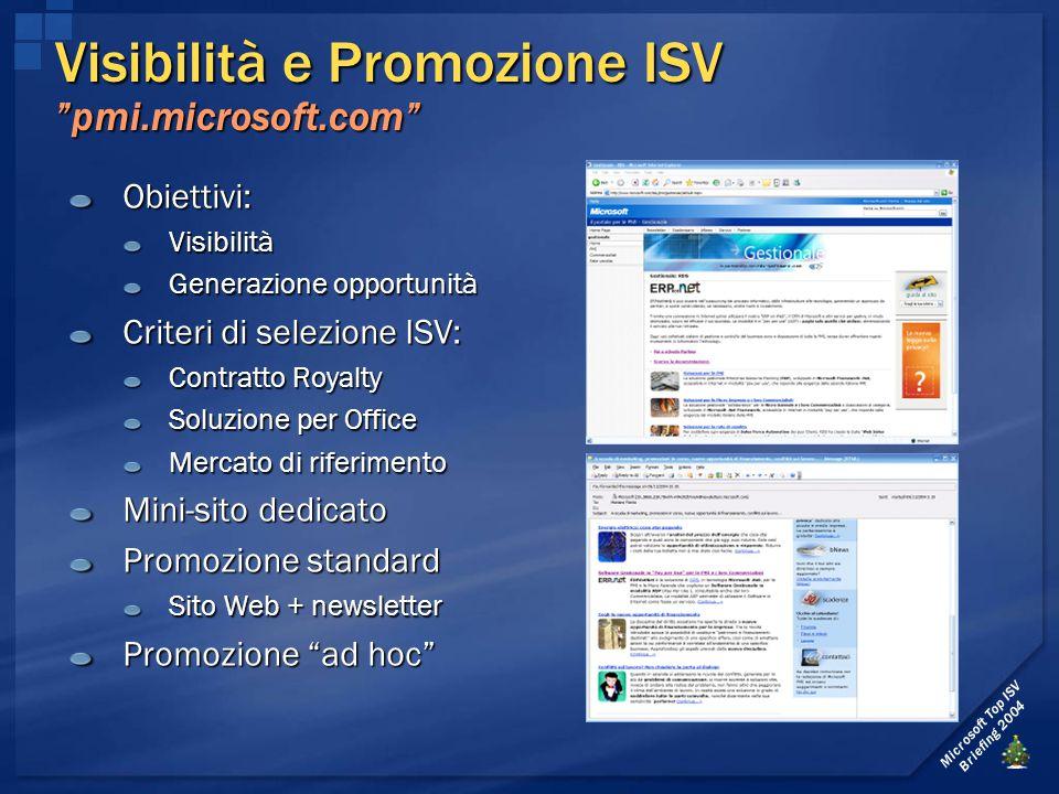 """Microsoft Top ISV Briefing 2004 Visibilità e Promozione ISV """"pmi.microsoft.com"""" Obiettivi:Visibilità Generazione opportunità Criteri di selezione ISV:"""
