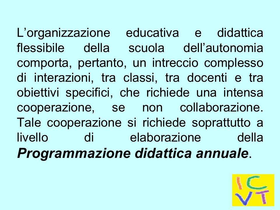 L'organizzazione educativa e didattica flessibile della scuola dell'autonomia comporta, pertanto, un intreccio complesso di interazioni, tra classi, tra docenti e tra obiettivi specifici, che richiede una intensa cooperazione, se non collaborazione.