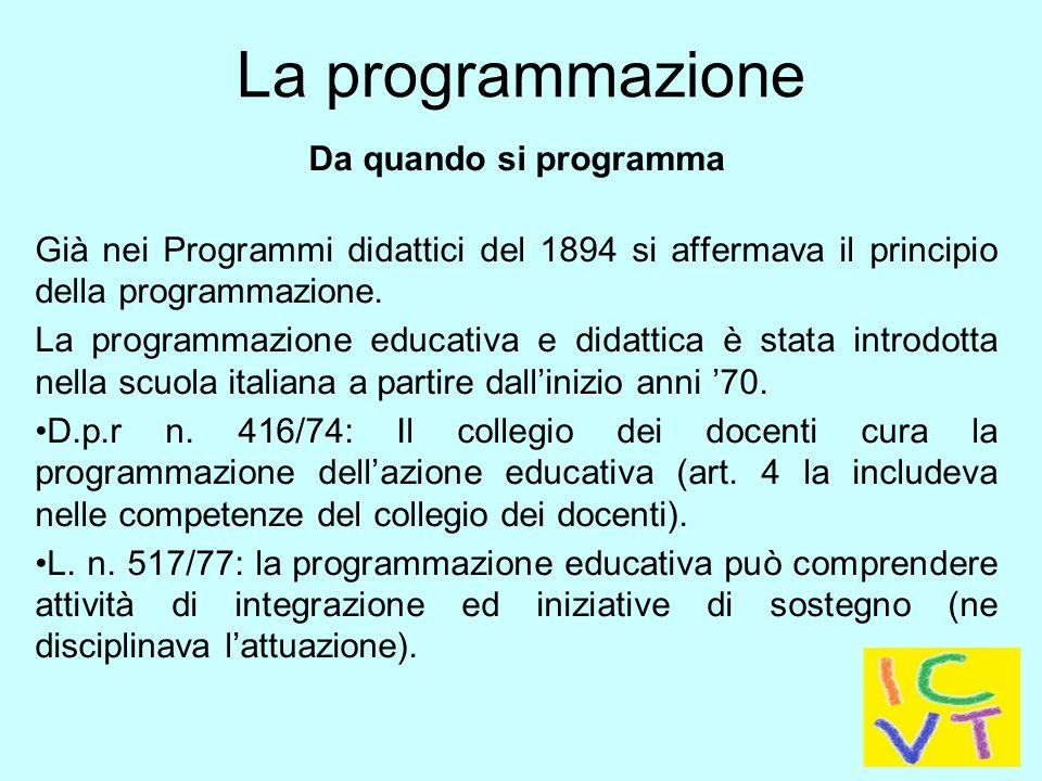 La programmazione Da quando si programma Programmi Ministeriali 1979: i docenti impostano i piani di studio secondo il criterio della programmazione curricolare per obiettivi educativi e didattici.