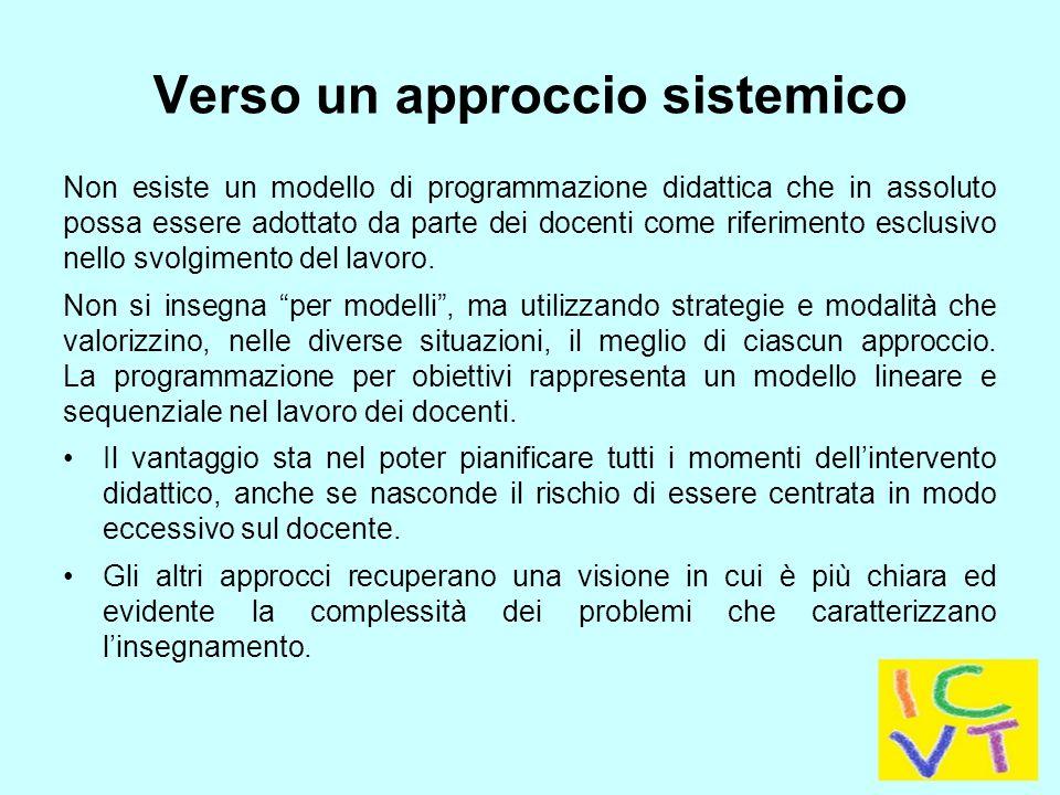 Verso un approccio sistemico Non esiste un modello di programmazione didattica che in assoluto possa essere adottato da parte dei docenti come riferimento esclusivo nello svolgimento del lavoro.