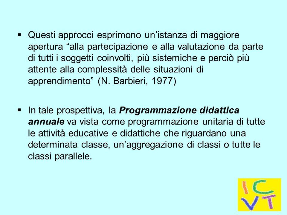  Questi approcci esprimono un'istanza di maggiore apertura alla partecipazione e alla valutazione da parte di tutti i soggetti coinvolti, più sistemiche e perciò più attente alla complessità delle situazioni di apprendimento (N.