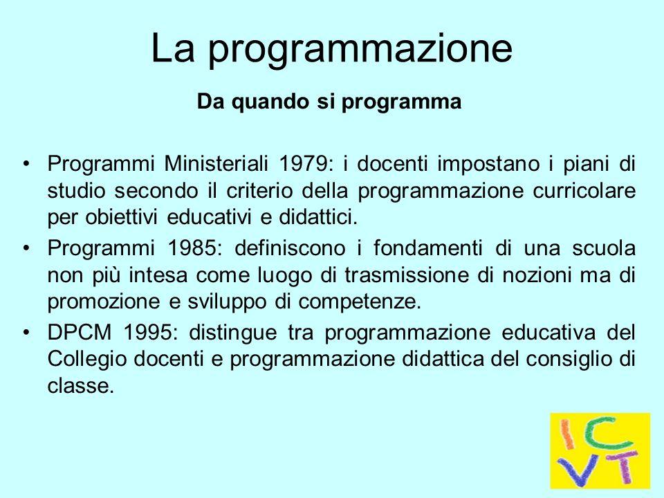 La programmazione educativa e didattica è il punto centrale del Piano dell'Offerta Formativa - POF.