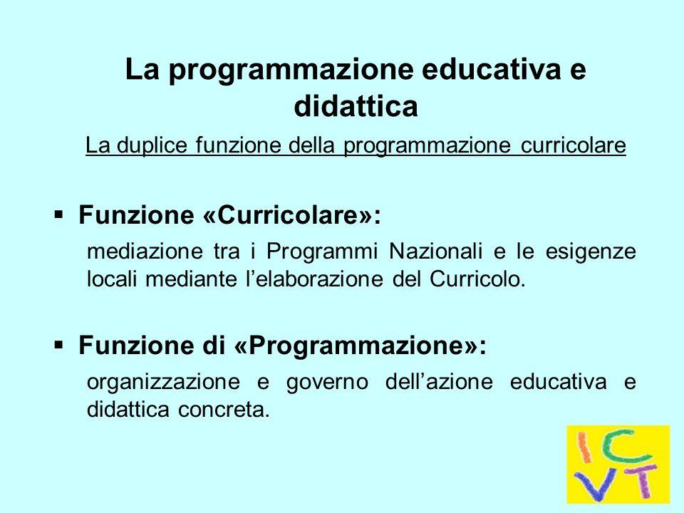  Funzione «Curricolare»: mediazione tra i Programmi Nazionali e le esigenze locali mediante l'elaborazione del Curricolo.