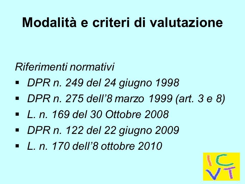 Modalità e criteri di valutazione Riferimenti normativi  DPR n.