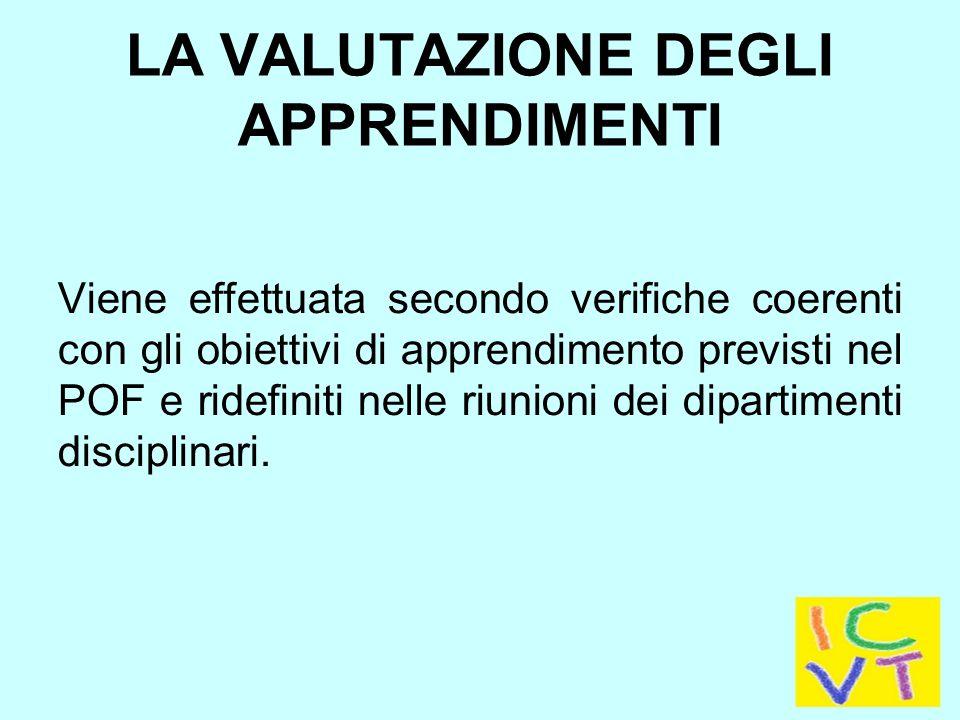 LA VALUTAZIONE DEGLI APPRENDIMENTI Viene effettuata secondo verifiche coerenti con gli obiettivi di apprendimento previsti nel POF e ridefiniti nelle riunioni dei dipartimenti disciplinari.
