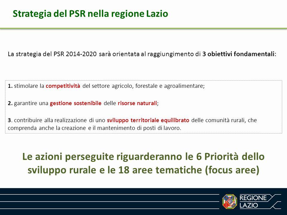 Strategia del PSR nella regione Lazio La strategia del PSR 2014-2020 sarà orientata al raggiungimento di 3 obiettivi fondamentali: 1. stimolare la com