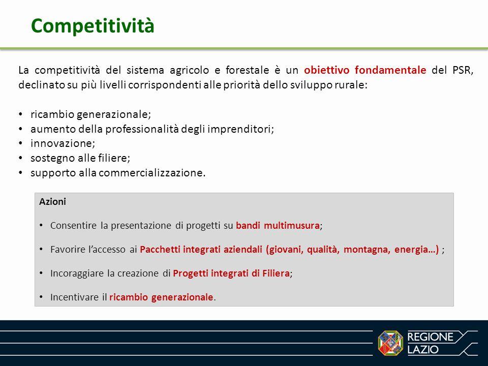 La competitività del sistema agricolo e forestale è un obiettivo fondamentale del PSR, declinato su più livelli corrispondenti alle priorità dello svi