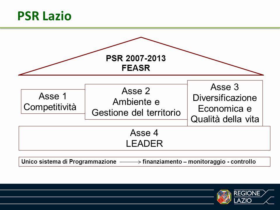 PSR 2007-2013 FEASR Asse 1 Competitività Asse 2 Ambiente e Gestione del territorio Asse 3 Diversificazione Economica e Qualità della vita Asse 4 LEADE