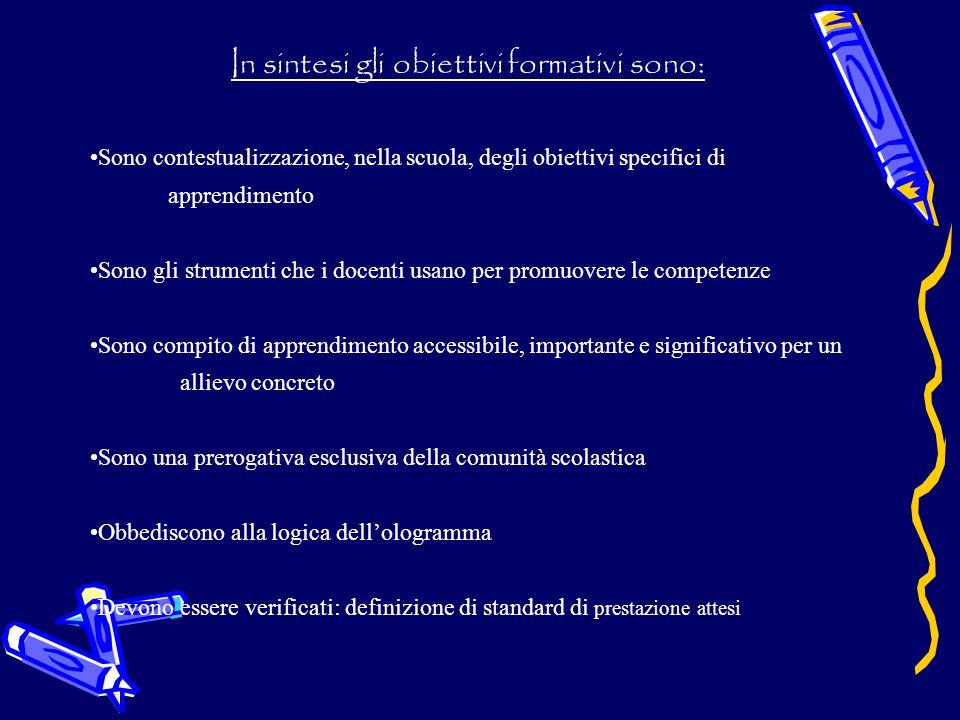 In sintesi gli obiettivi formativi sono: Sono contestualizzazione, nella scuola, degli obiettivi specifici di apprendimento Sono gli strumenti che i d