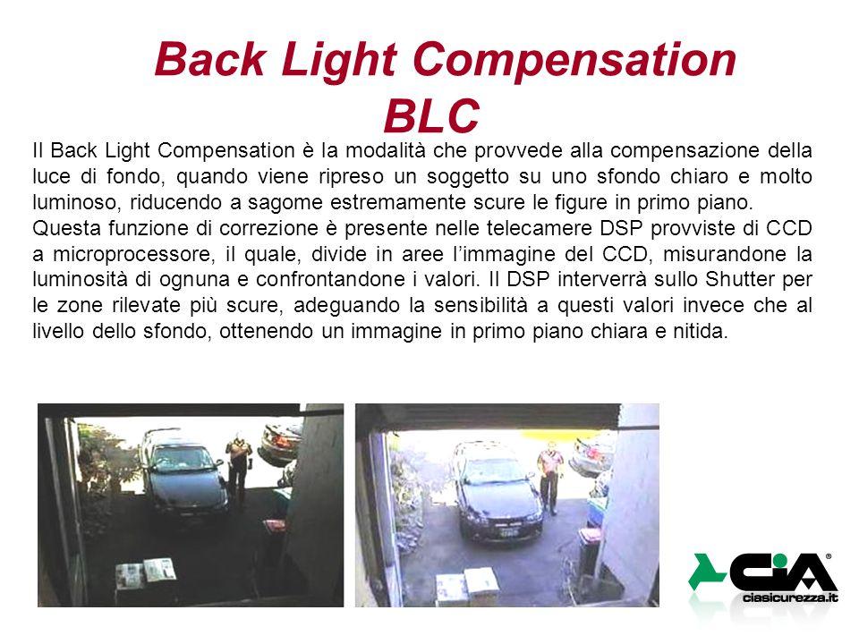 Back Light Compensation BLC Il Back Light Compensation è la modalità che provvede alla compensazione della luce di fondo, quando viene ripreso un soggetto su uno sfondo chiaro e molto luminoso, riducendo a sagome estremamente scure le figure in primo piano.