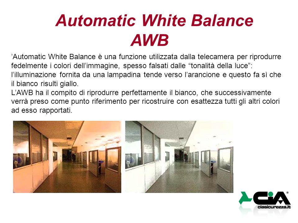 Automatic White Balance AWB 'Automatic White Balance è una funzione utilizzata dalla telecamera per riprodurre fedelmente i colori dell'immagine, spesso falsati dalle tonalità della luce : l'illuminazione fornita da una lampadina tende verso l'arancione e questo fa sì che il bianco risulti giallo.